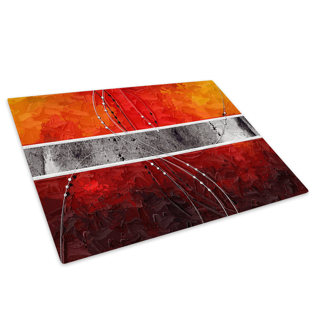 Orange Grey Stripe Glass Chopping Board Kitchen Worktop Saver Protector - AB517-Abstract Chopping Board-WhatsOnYourWall
