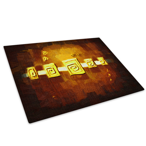 Brown Yellow Stripe Glass Chopping Board Kitchen Worktop Saver Protector - AB518-Abstract Chopping Board-WhatsOnYourWall