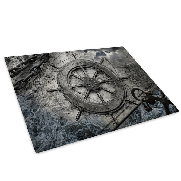 Black Vintage Ship Glass Chopping Board Kitchen Worktop Saver Protector - AB521-Abstract Chopping Board-WhatsOnYourWall