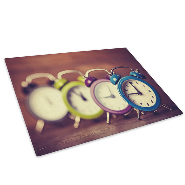 Colourful Clock Cool Glass Chopping Board Kitchen Worktop Saver Protector - AB527-Abstract Chopping Board-WhatsOnYourWall