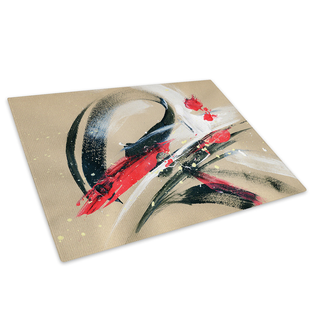Red Black White Cool Glass Chopping Board Kitchen Worktop Saver Protector - AB528-Abstract Chopping Board-WhatsOnYourWall