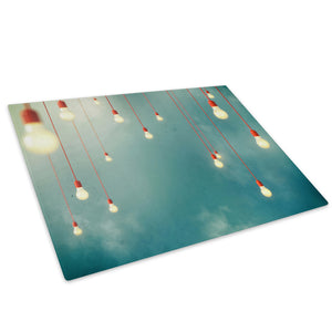 Orange Lightbulb Cool Glass Chopping Board Kitchen Worktop Saver Protector - AB540-Abstract Chopping Board-WhatsOnYourWall