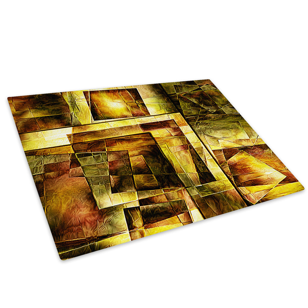 Yellow Brown Square Glass Chopping Board Kitchen Worktop Saver Protector - AB547-Abstract Chopping Board-WhatsOnYourWall