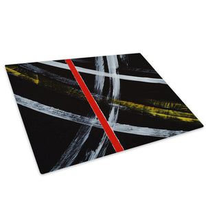 Red Line Yellow Black Glass Chopping Board Kitchen Worktop Saver Protector - AB549-Abstract Chopping Board-WhatsOnYourWall