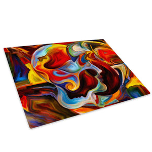Colourful Cool Funky Glass Chopping Board Kitchen Worktop Saver Protector - AB556-Abstract Chopping Board-WhatsOnYourWall