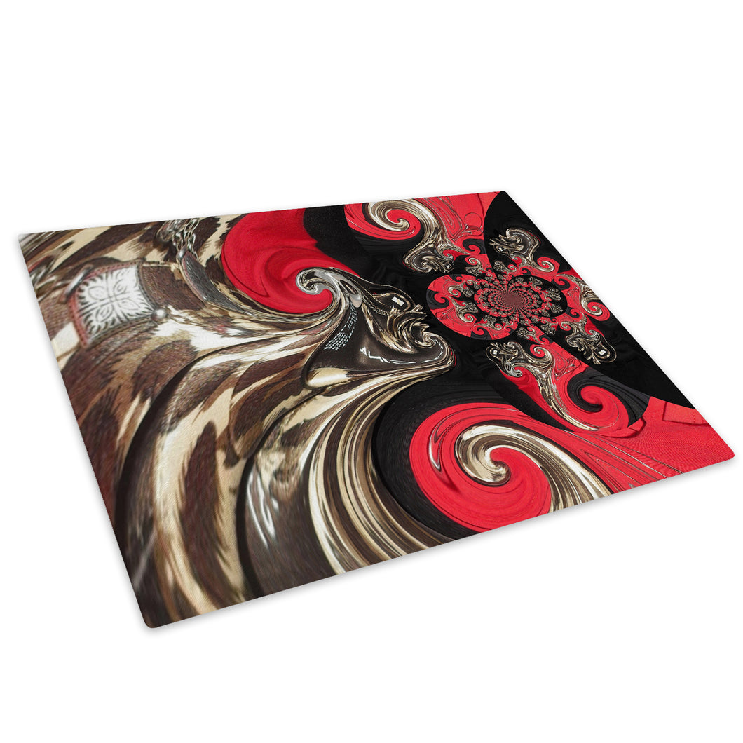 Red Black Brown Cool Glass Chopping Board Kitchen Worktop Saver Protector - AB558-Abstract Chopping Board-WhatsOnYourWall