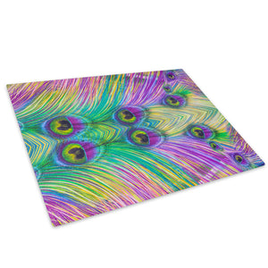 Purple Green Feather Glass Chopping Board Kitchen Worktop Saver Protector - AB561-Abstract Chopping Board-WhatsOnYourWall