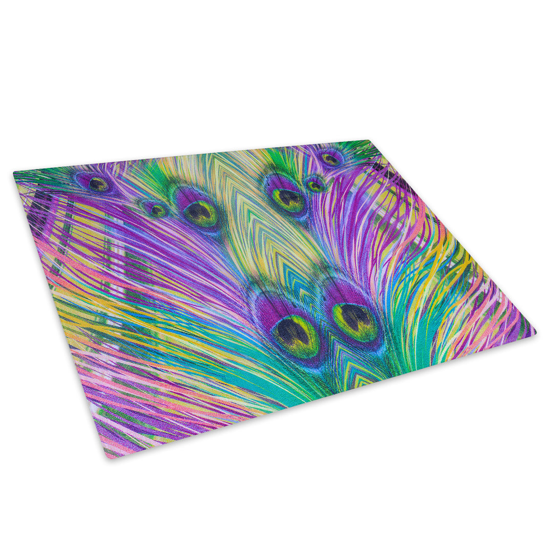Purple Green Feather Glass Chopping Board Kitchen Worktop Saver Protector - AB564-Abstract Chopping Board-WhatsOnYourWall