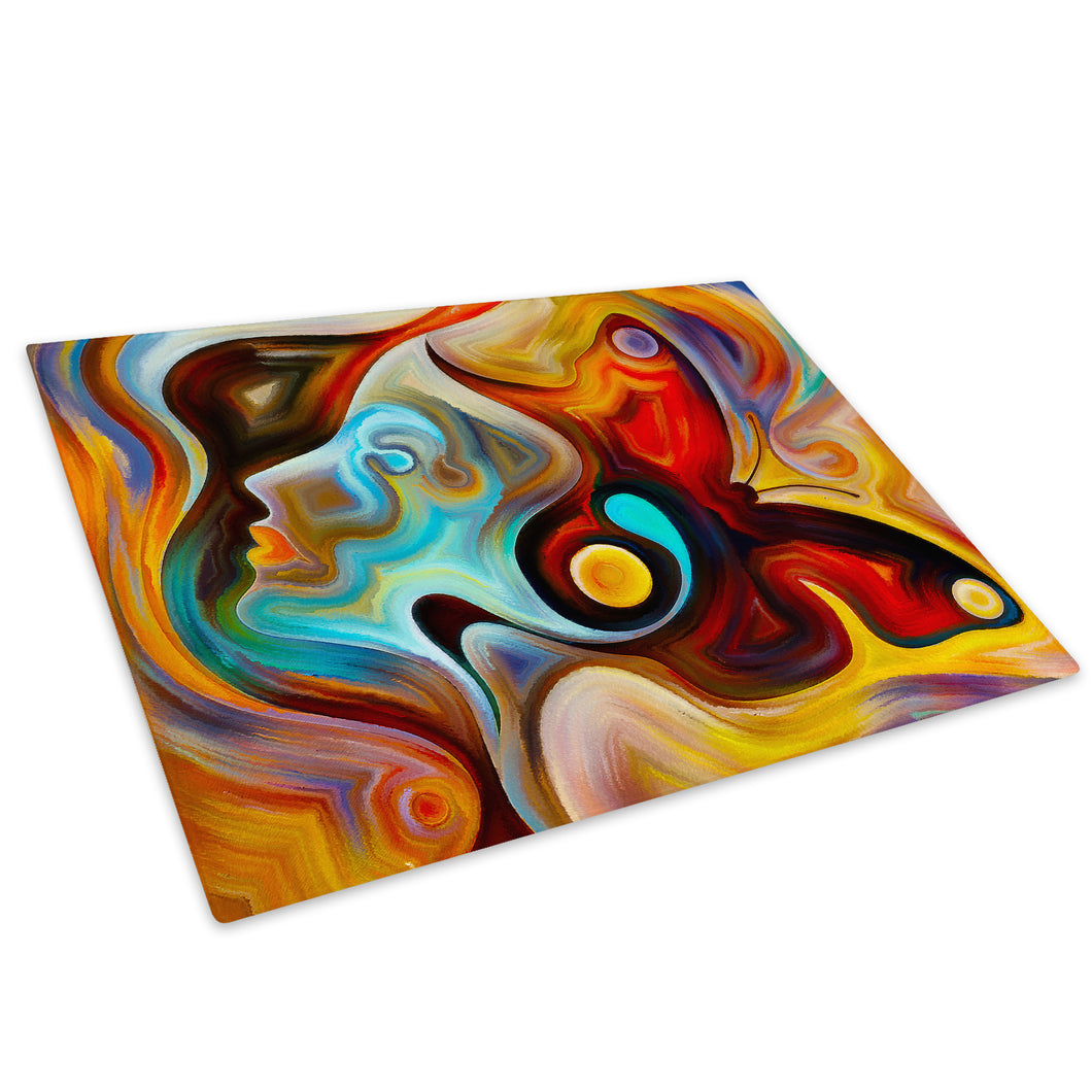 Colourful Butterfly Glass Chopping Board Kitchen Worktop Saver Protector - AB567-Abstract Chopping Board-WhatsOnYourWall