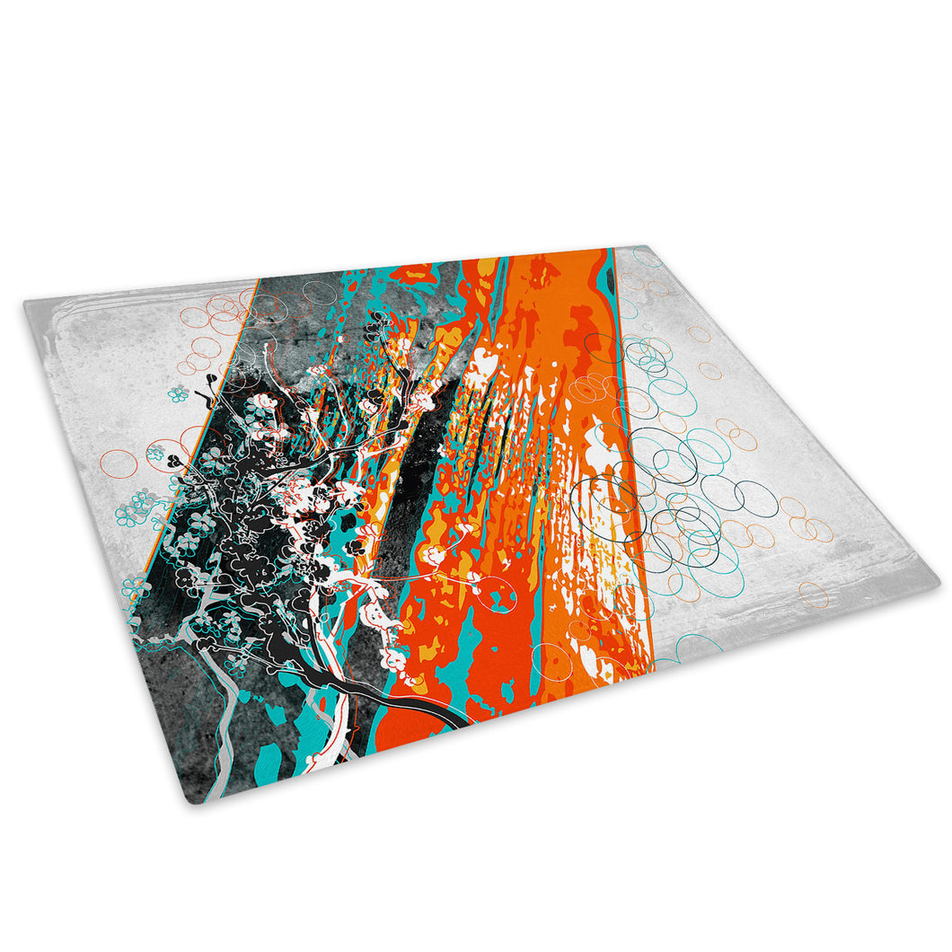 Orange Blue Flower Glass Chopping Board Kitchen Worktop Saver Protector - AB571-Abstract Chopping Board-WhatsOnYourWall