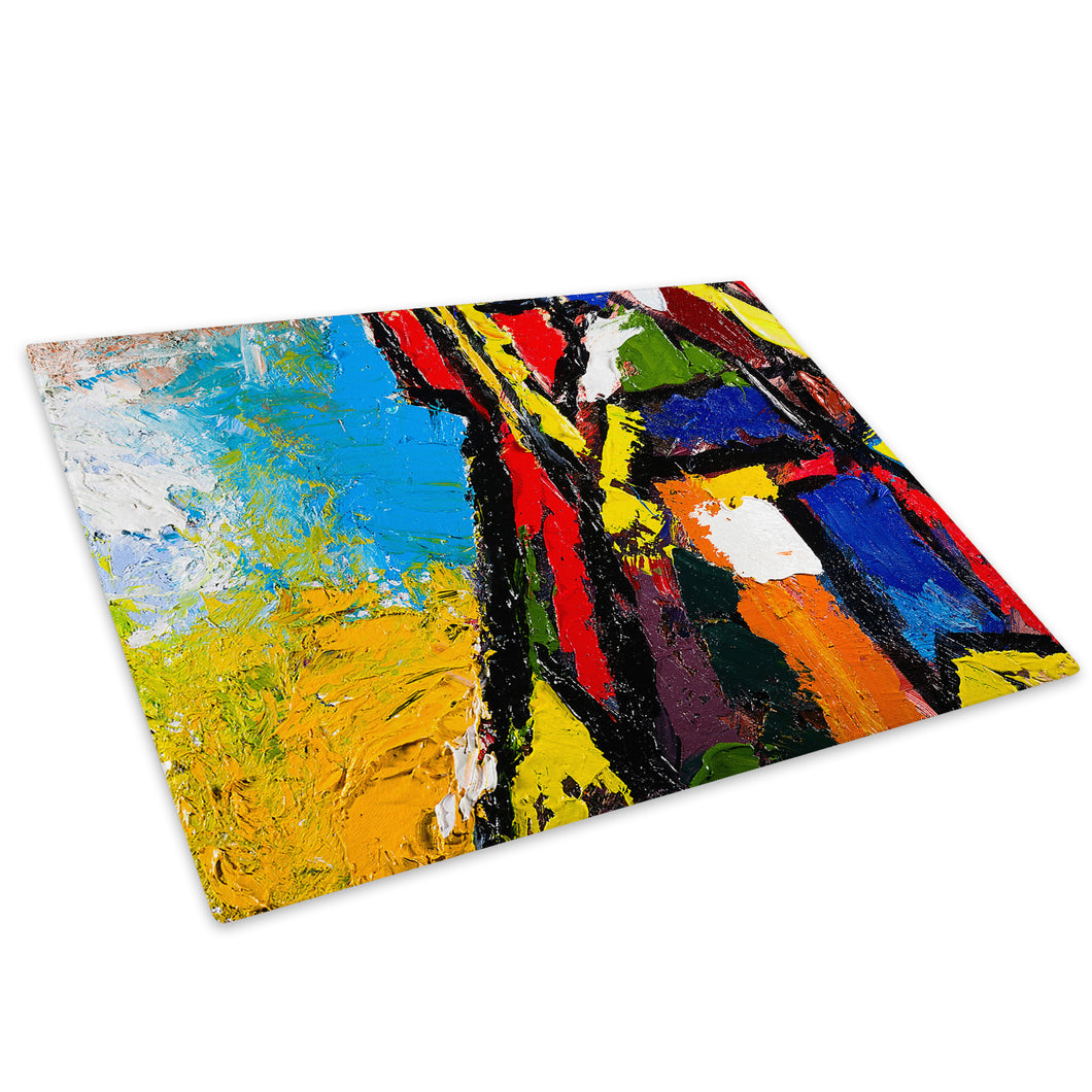 Colourful Retro Cool Glass Chopping Board Kitchen Worktop Saver Protector - AB574-Abstract Chopping Board-WhatsOnYourWall