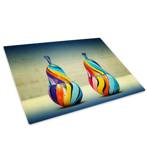 Colourful Retro Pear Glass Chopping Board Kitchen Worktop Saver Protector - AB576-Abstract Chopping Board-WhatsOnYourWall
