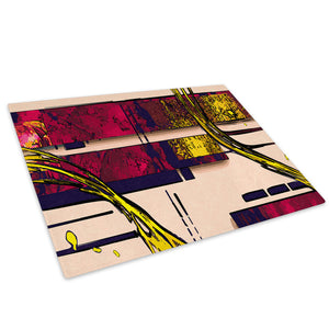 Red Yellow Pink Blue Glass Chopping Board Kitchen Worktop Saver Protector - AB592-Abstract Chopping Board-WhatsOnYourWall
