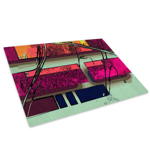 Pink Orange Green Blue Glass Chopping Board Kitchen Worktop Saver Protector - AB595-Abstract Chopping Board-WhatsOnYourWall