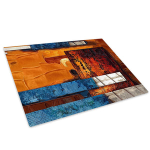 Retro Orange Blue Grey Glass Chopping Board Kitchen Worktop Saver Protector - AB606-Abstract Chopping Board-WhatsOnYourWall
