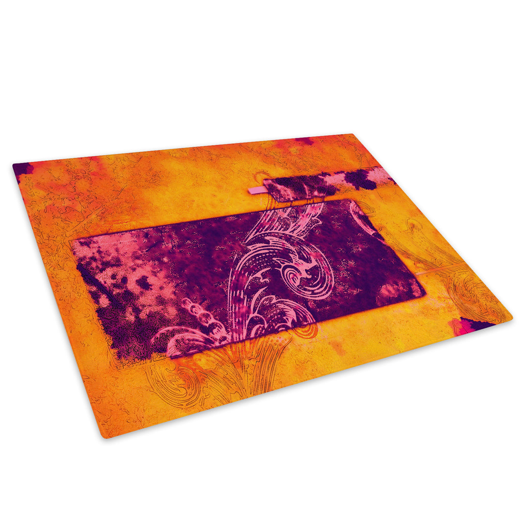 Orange Pink Purple Glass Chopping Board Kitchen Worktop Saver Protector - AB609-Abstract Chopping Board-WhatsOnYourWall