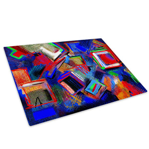Colourful Retro Cool Glass Chopping Board Kitchen Worktop Saver Protector - AB622-Abstract Chopping Board-WhatsOnYourWall