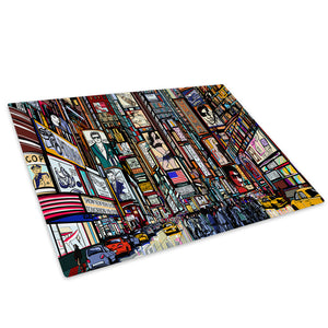 Colourful Times Square Glass Chopping Board Kitchen Worktop Saver Protector - AB624-Abstract Chopping Board-WhatsOnYourWall
