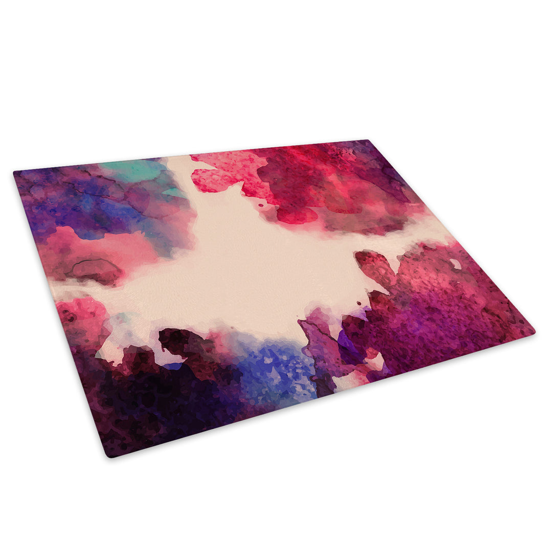 Pink Blue Watercolour Glass Chopping Board Kitchen Worktop Saver Protector - AB625-Abstract Chopping Board-WhatsOnYourWall