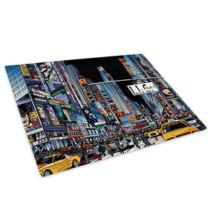 Colourful Times Square Glass Chopping Board Kitchen Worktop Saver Protector - AB628-Abstract Chopping Board-WhatsOnYourWall