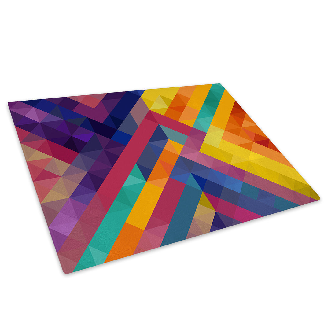 Colourful Geometric Glass Chopping Board Kitchen Worktop Saver Protector - AB630-Abstract Chopping Board-WhatsOnYourWall