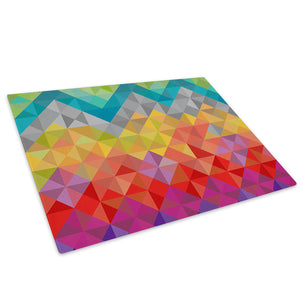 Colourful Geometric Glass Chopping Board Kitchen Worktop Saver Protector - AB631-Abstract Chopping Board-WhatsOnYourWall