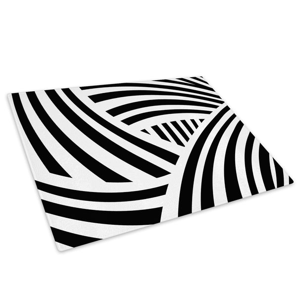 Black White Stripes Glass Chopping Board Kitchen Worktop Saver Protector - AB637-Abstract Chopping Board-WhatsOnYourWall