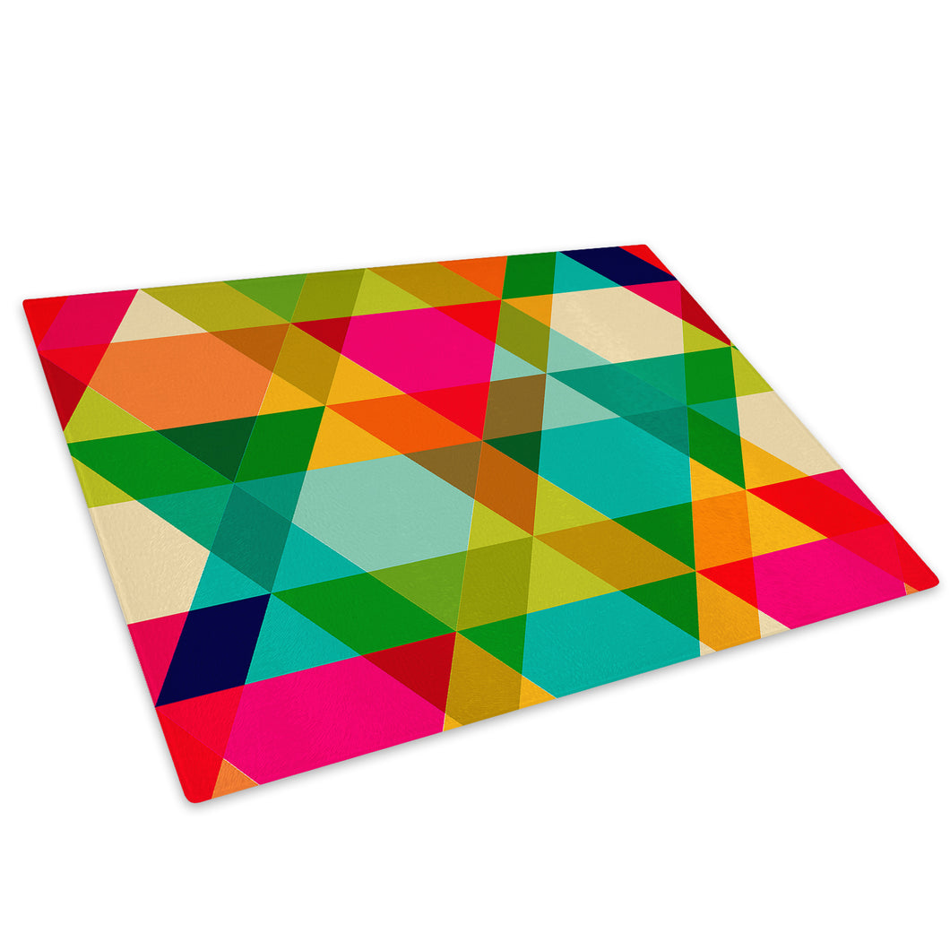 Colourful Geometric Glass Chopping Board Kitchen Worktop Saver Protector - AB642-Abstract Chopping Board-WhatsOnYourWall