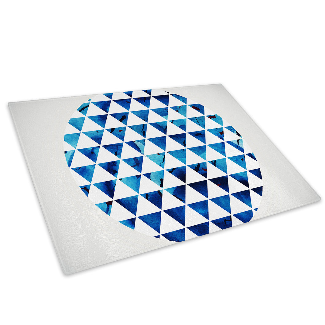 Blue White Geometric Glass Chopping Board Kitchen Worktop Saver Protector - AB643-Abstract Chopping Board-WhatsOnYourWall