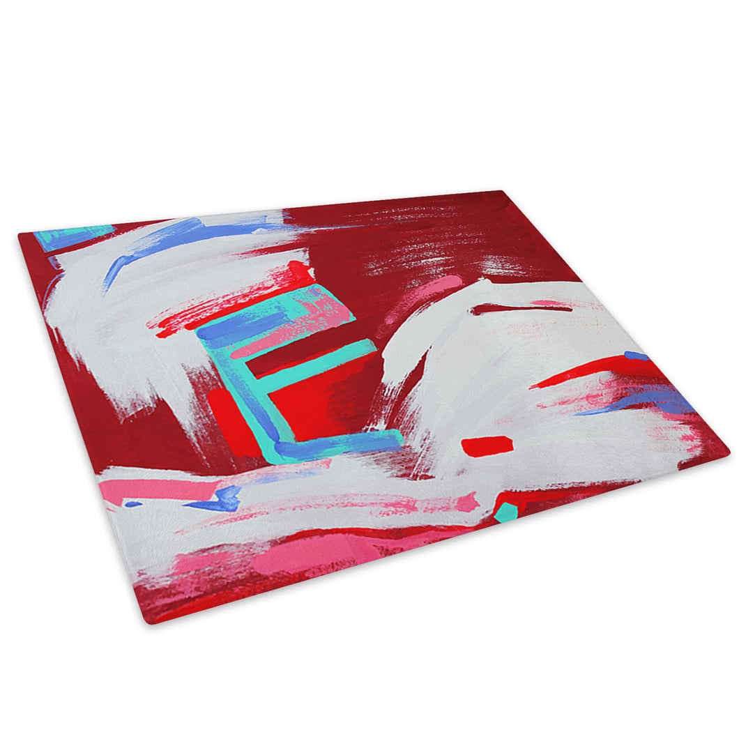 Red Blue White Pink Glass Chopping Board Kitchen Worktop Saver Protector - AB648-Abstract Chopping Board-WhatsOnYourWall