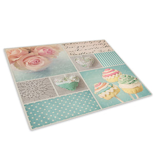 Pink Teal Retro Flower Glass Chopping Board Kitchen Worktop Saver Protector - AB666-Abstract Chopping Board-WhatsOnYourWall