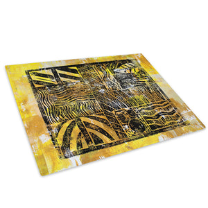 Retro Yellow Black Glass Chopping Board Kitchen Worktop Saver Protector - AB678-Abstract Chopping Board-WhatsOnYourWall