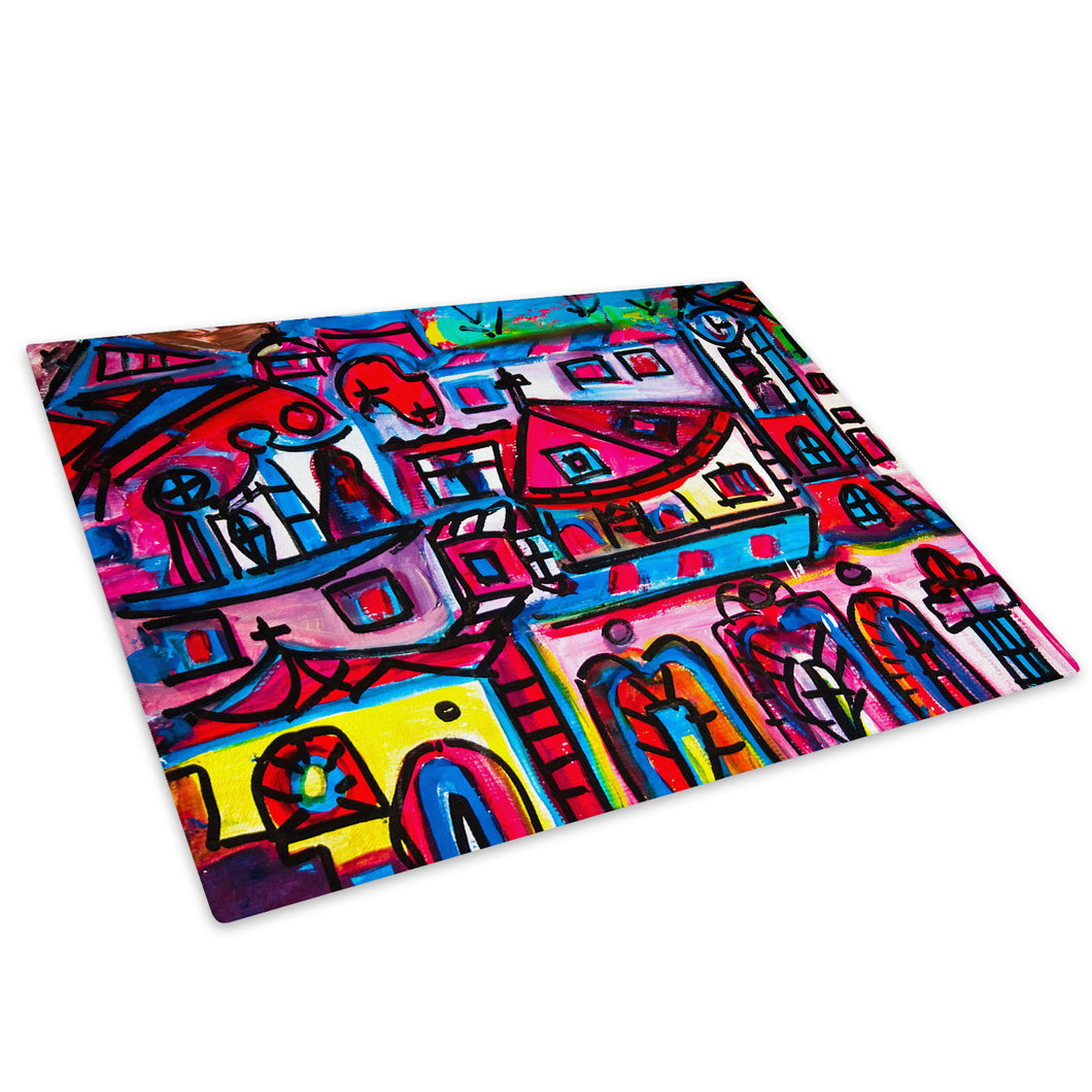 Colourful Retro Funky Glass Chopping Board Kitchen Worktop Saver Protector - AB681-Abstract Chopping Board-WhatsOnYourWall