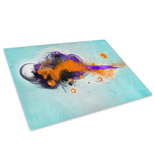 Orange Blue Black Glass Chopping Board Kitchen Worktop Saver Protector - AB685-Abstract Chopping Board-WhatsOnYourWall