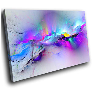 AB968 Abstract Blue Neon Multicolour Canvas