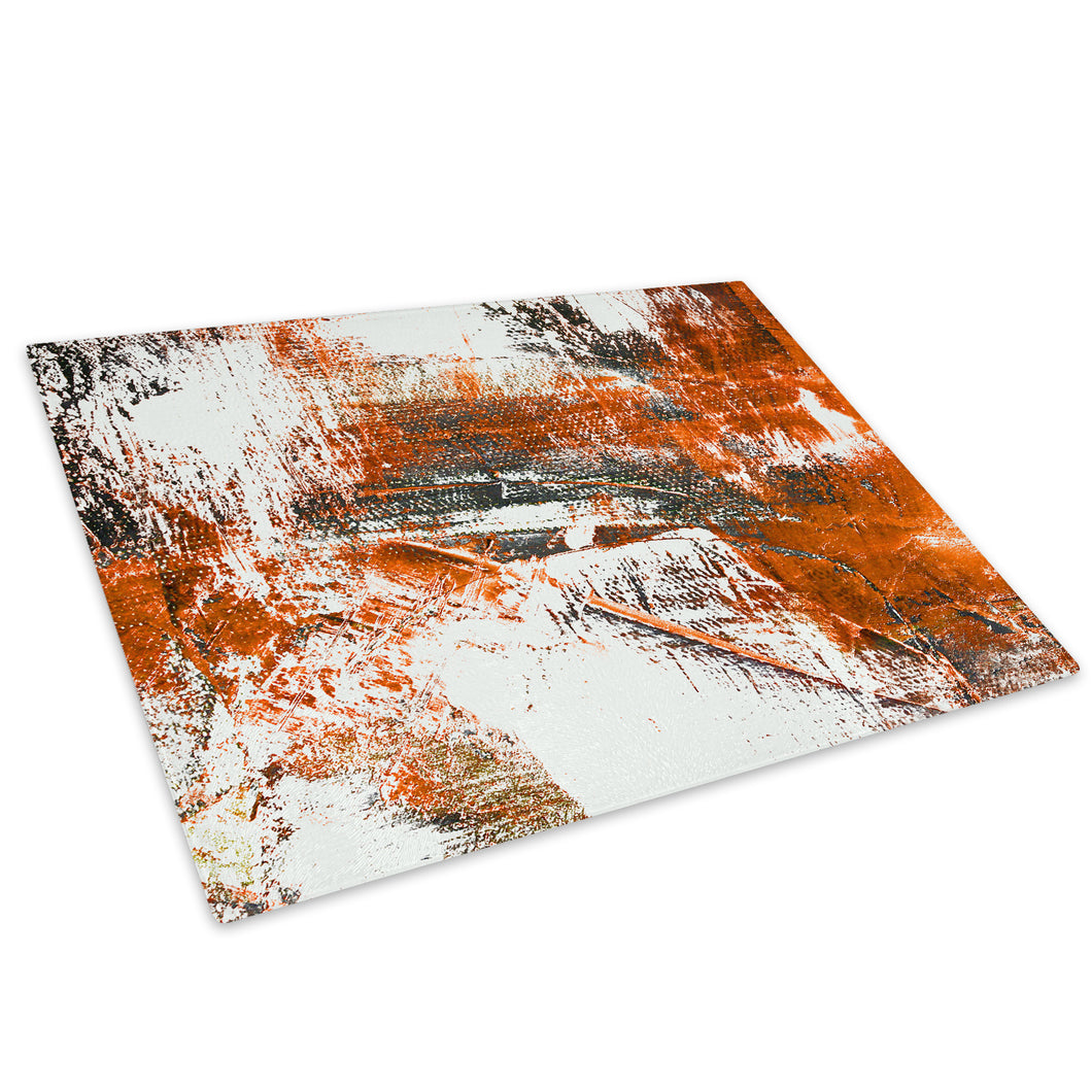 Orange White Grey Glass Chopping Board Kitchen Worktop Saver Protector - AB974-Abstract Chopping Board-WhatsOnYourWall