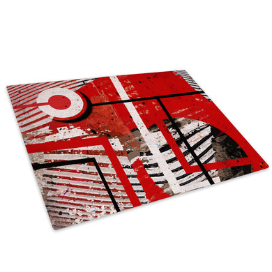 Retro Red White Black Glass Chopping Board Kitchen Worktop Saver Protector - AB995-Abstract Chopping Board-WhatsOnYourWall