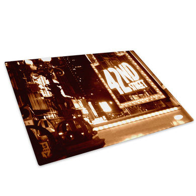 Retro New York Brown Cool Glass Chopping Board Kitchen Worktop Saver Protector - C001-Scenic Chopping Board-WhatsOnYourWall
