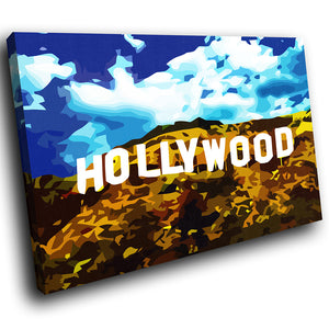 SC002 Framed Canvas Print Colourful Modern Scenic Wall Art - Hollywood Hills Blue White Brown - WhatsOnYourWall