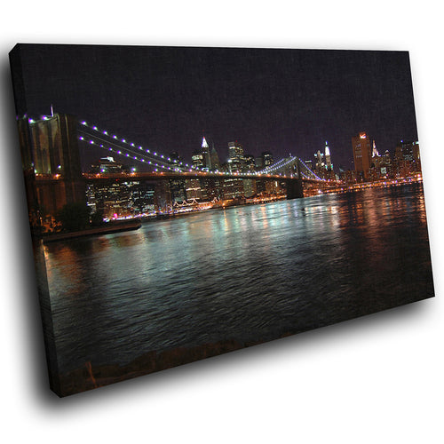 SC003 Framed Canvas Print Colourful Modern Scenic Wall Art - Brooklyn Bridge New York-Canvas Print-WhatsOnYourWall
