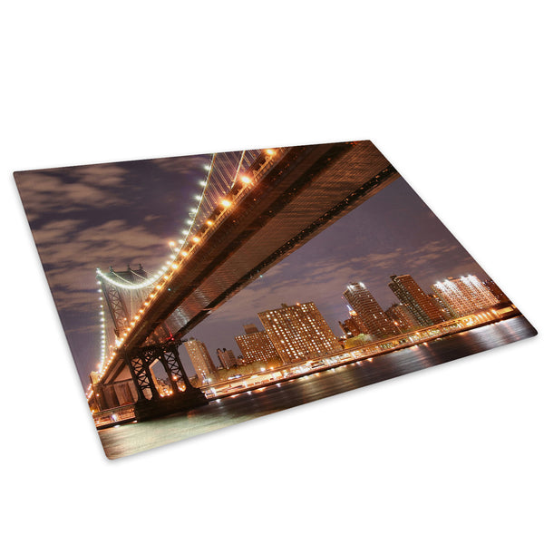 Brooklyn Bridge New York Glass Chopping Board Kitchen Worktop Saver Protector - C004-Scenic Chopping Board-WhatsOnYourWall
