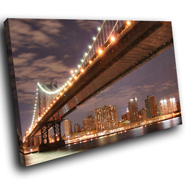 SC004 Framed Canvas Print Colourful Modern Scenic Wall Art - Brooklyn Bridge New York-Canvas Print-WhatsOnYourWall