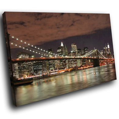 SC005 Framed Canvas Print Colourful Modern Scenic Wall Art - Brooklyn Bridge New York-Canvas Print-WhatsOnYourWall