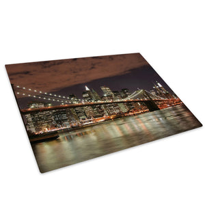 Brooklyn Bridge New York Glass Chopping Board Kitchen Worktop Saver Protector - C005-Scenic Chopping Board-WhatsOnYourWall