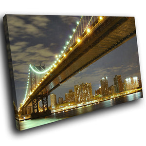 SC006 Framed Canvas Print Colourful Modern Scenic Wall Art - Brooklyn Bridge New York-Canvas Print-WhatsOnYourWall