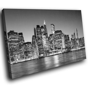 SC007 Framed Canvas Print Colourful Modern Scenic Wall Art - New York City Black White-Canvas Print-WhatsOnYourWall