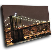 SC008 Framed Canvas Print Colourful Modern Scenic Wall Art - Brooklyn Bridge New York-Canvas Print-WhatsOnYourWall