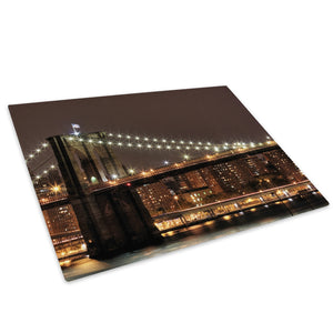 Brooklyn Bridge New York Glass Chopping Board Kitchen Worktop Saver Protector - C008-Scenic Chopping Board-WhatsOnYourWall