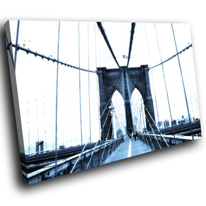 SC009 Framed Canvas Print Colourful Modern Scenic Wall Art - Brooklyn Bridge New York-Canvas Print-WhatsOnYourWall