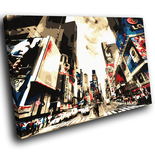 SC012 Framed Canvas Print Colourful Modern Scenic Wall Art - Colourful Times Square New York-Canvas Print-WhatsOnYourWall